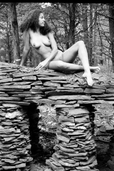 Title: Reclining Nude On Rock Ledge
